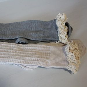 Other - 2 Pair Lace Cuff Long Boot Socks